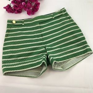 Meadow Rue Green Striped High Rise Shorts